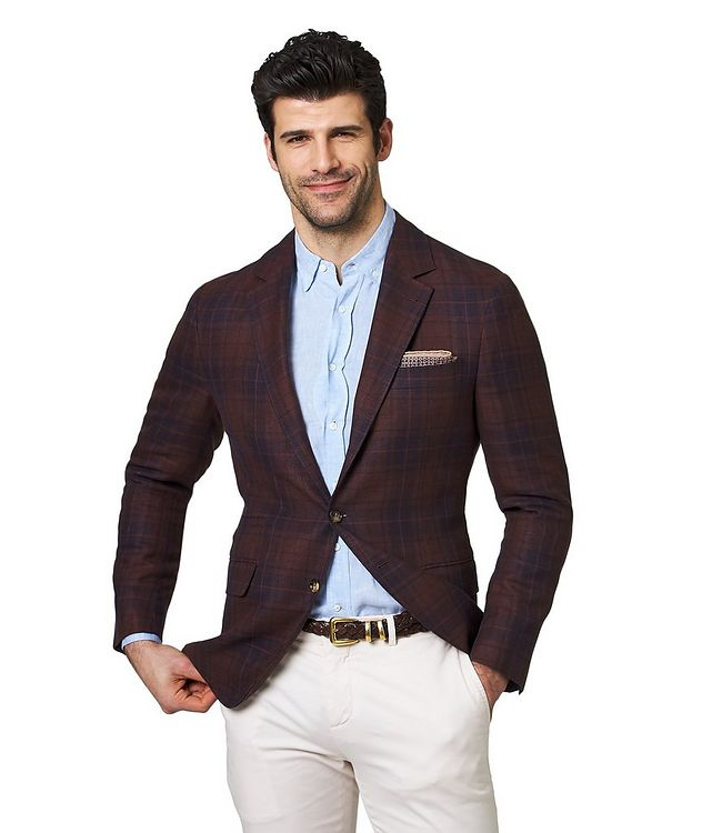 Plaid Linen, Wool & Silk Sports Jacket picture 1