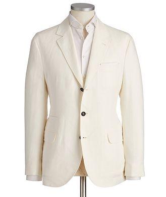 Brunello Cucinelli Unstructured Chevron Linen Sports Jacket