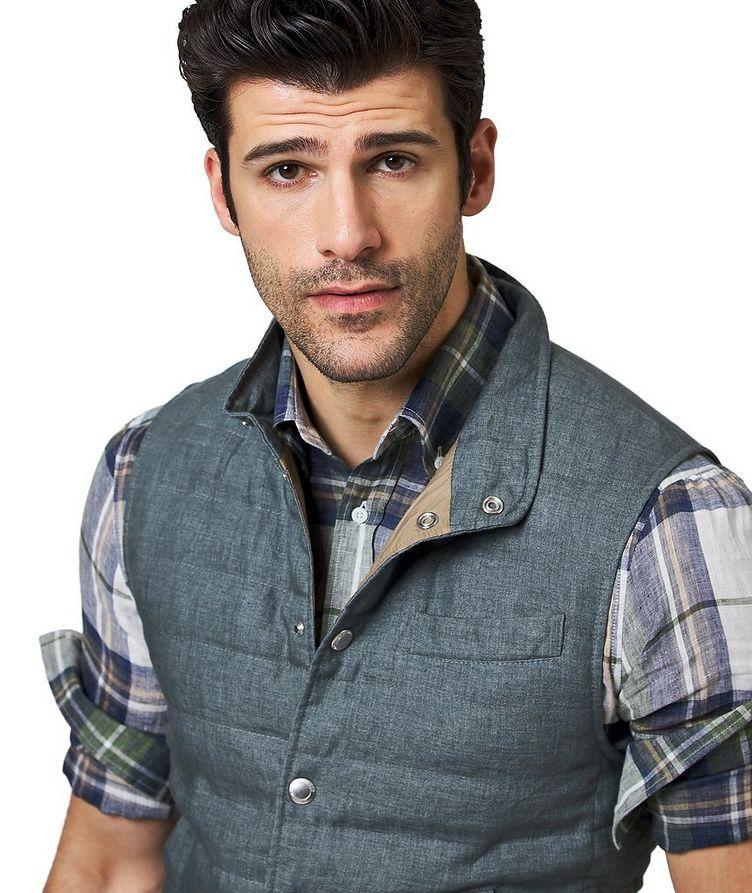 Down-Filled Linen Vest image 2