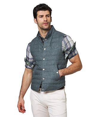 Brunello Cucinelli Down-Filled Linen Vest