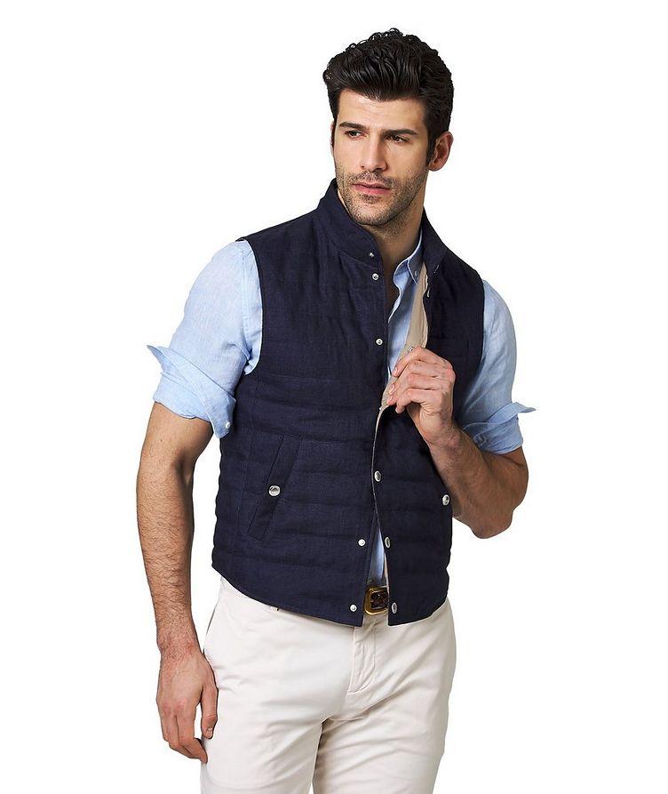 Down-Filled Linen Vest image 0