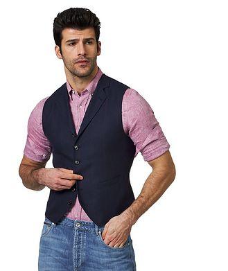 Brunello Cucinelli Pinstriped Linen, Wool & Silk Vest