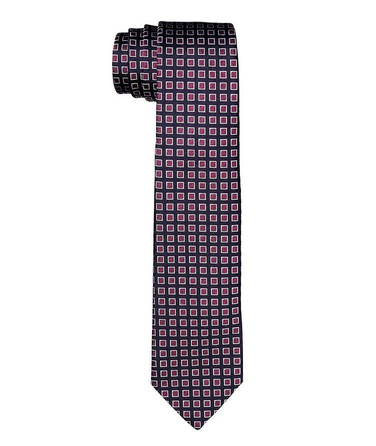 Cravate quadrillée en soie image 0