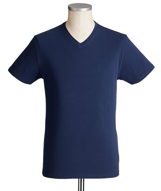 V-Neck Stretch-Cotton T-Shirt picture 1