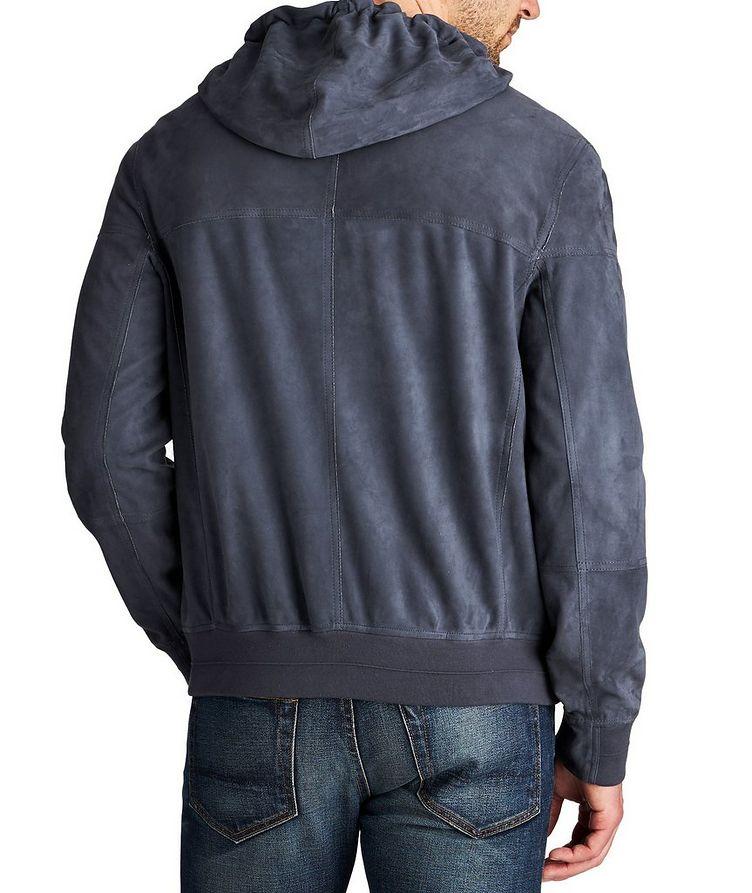 Hooded Suede Bomber Jacket image 1
