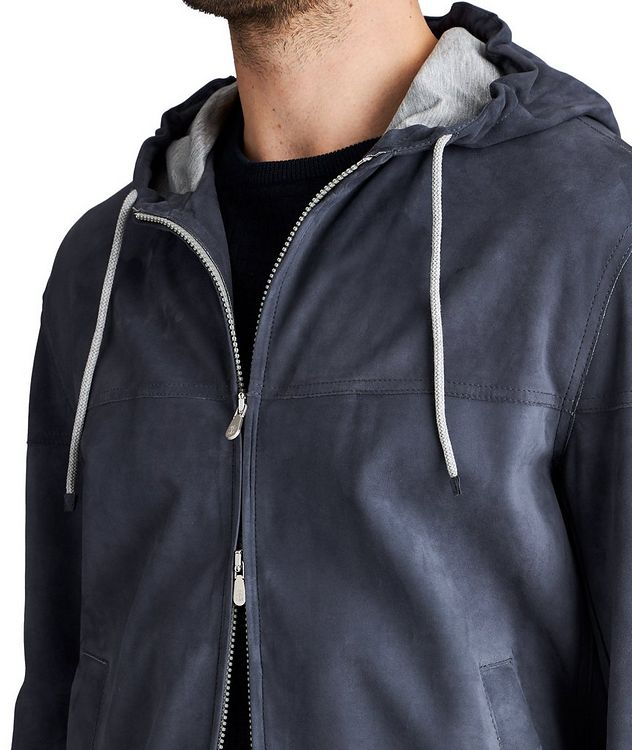 Hooded Suede Bomber Jacket picture 3
