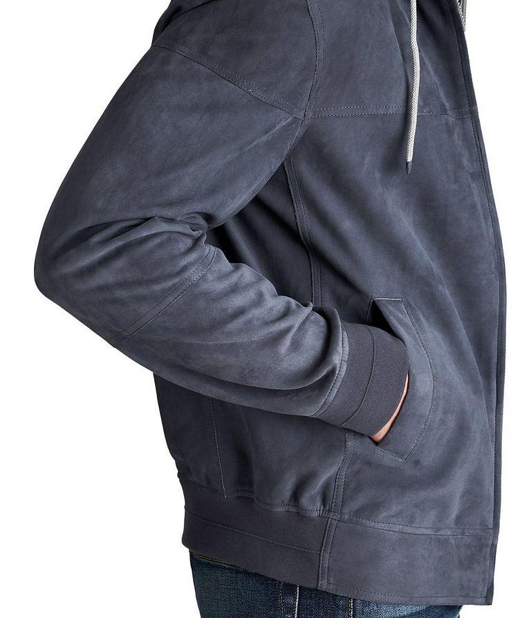 Hooded Suede Bomber Jacket image 3