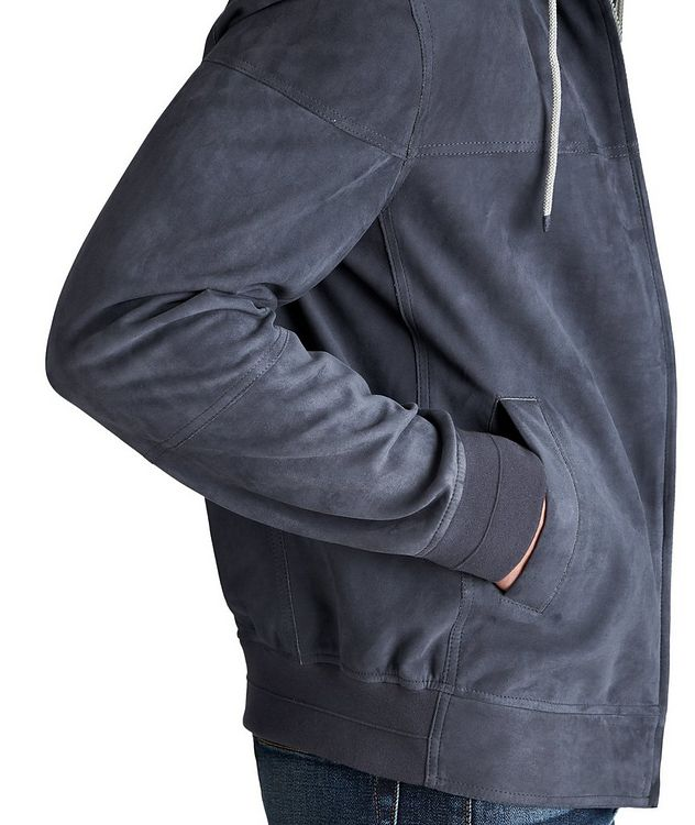 Hooded Suede Bomber Jacket picture 4