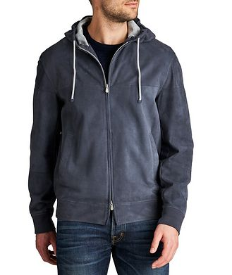Brunello Cucinelli Hooded Suede Bomber Jacket