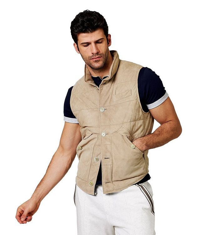 Down-Filled Suede Vest picture 1