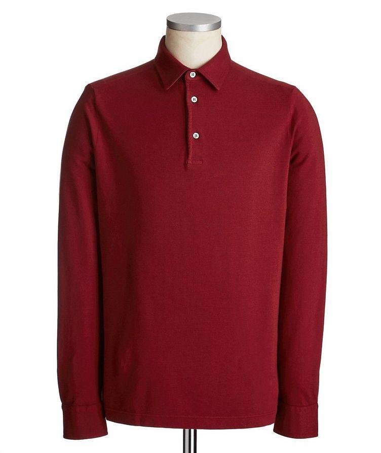 Long-Sleeve Cotton Piqué Polo image 0