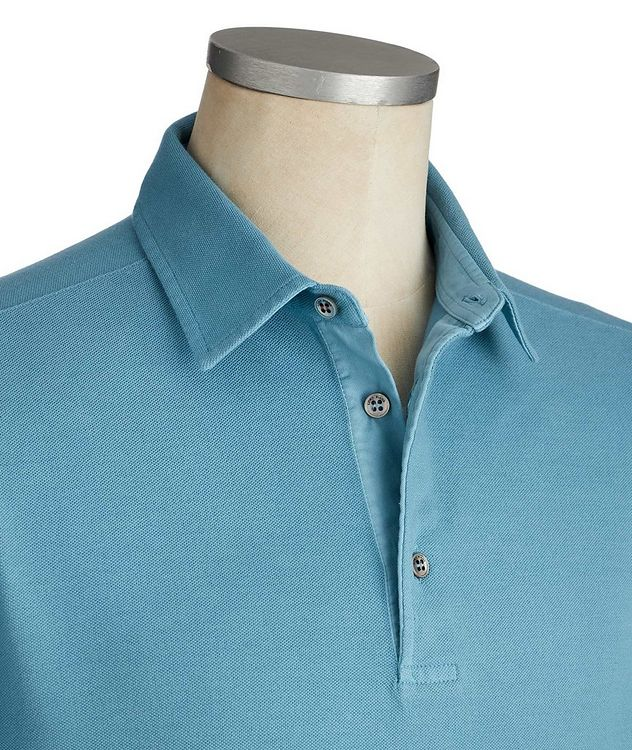 Long-Sleeve Cotton Piqué Polo picture 2
