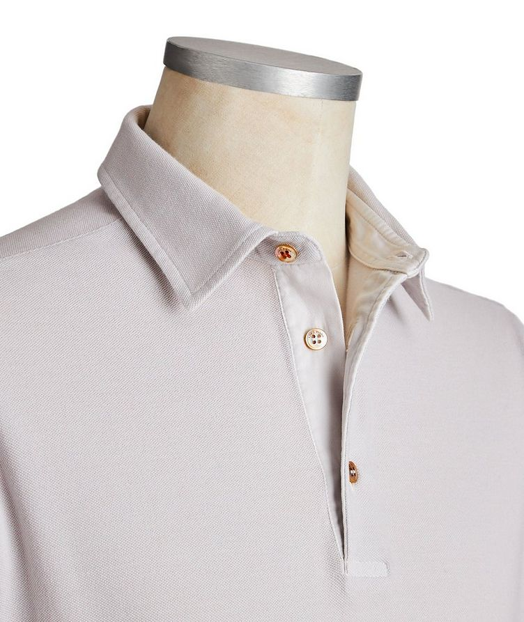 Long-Sleeve Cotton Piqué Polo image 1