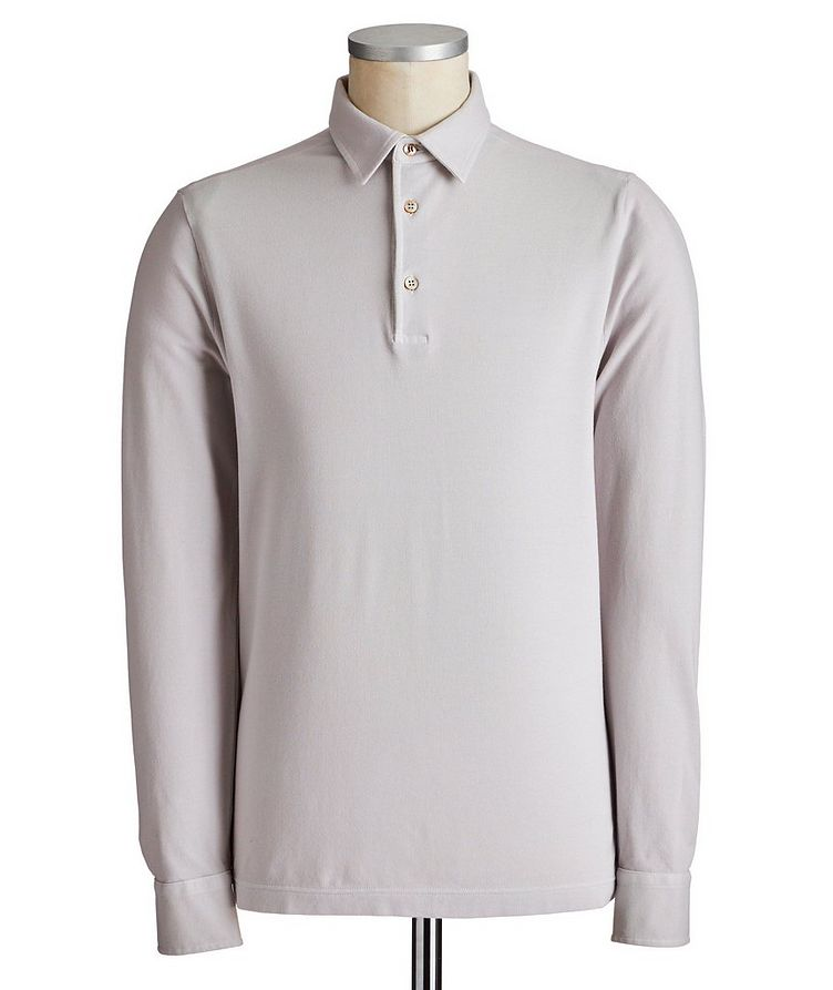 Long-Sleeve Cotton Piqué Polo image 0