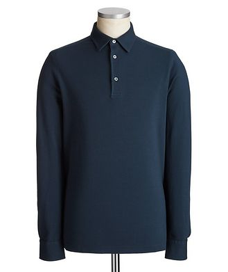 Loro Piana Long-Sleeve Cotton Piqué Polo