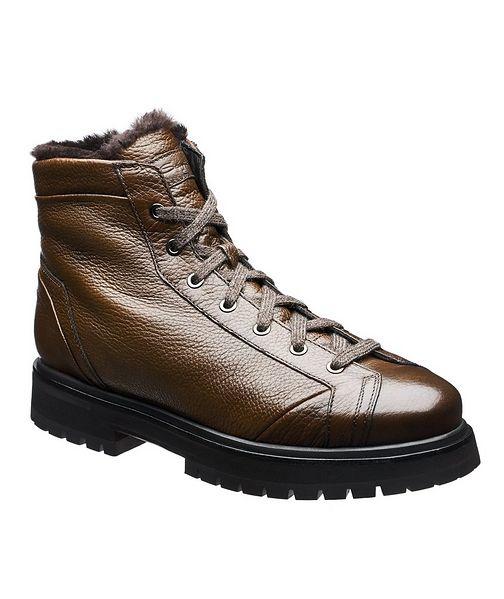 Santoni Shearling-Lined Deerskin Boots