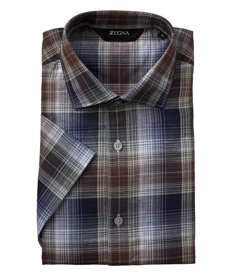 Short-Sleeve Checked Linen-Cotton Shirt image 0