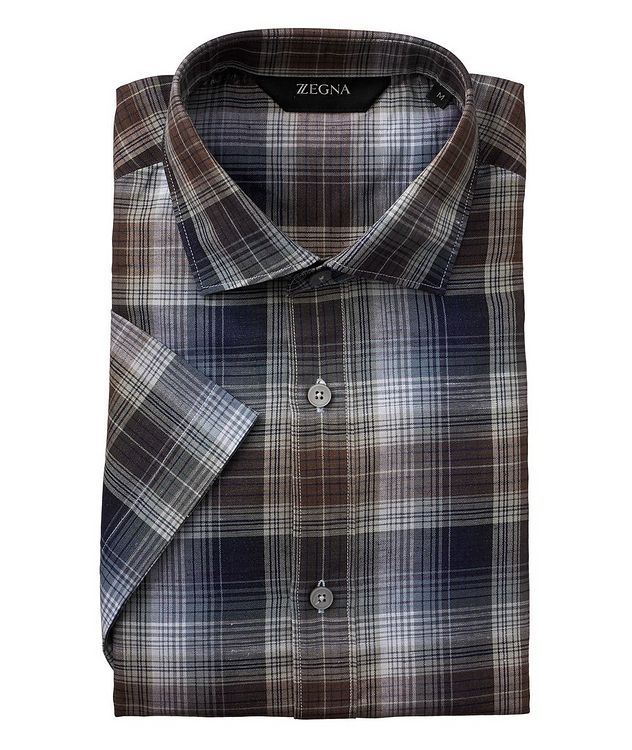 Short-Sleeve Checked Linen-Cotton Shirt picture 1