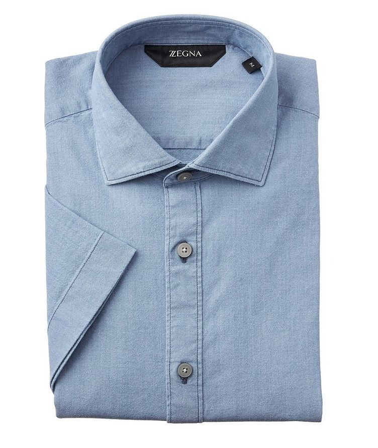 Slim-Fit Short-Sleeve Stretch-Denim Shirt image 0