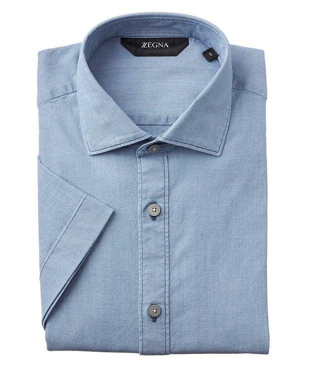 Slim-Fit Short-Sleeve Stretch-Denim Shirt picture 1