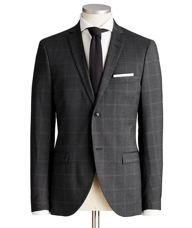 Jile Slim Fit Windowpane Wool Suit picture 1