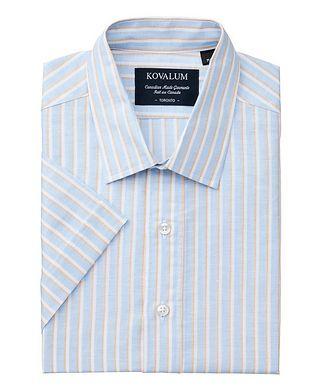 Kovalum Short-Sleeve Striped Linen Shirt