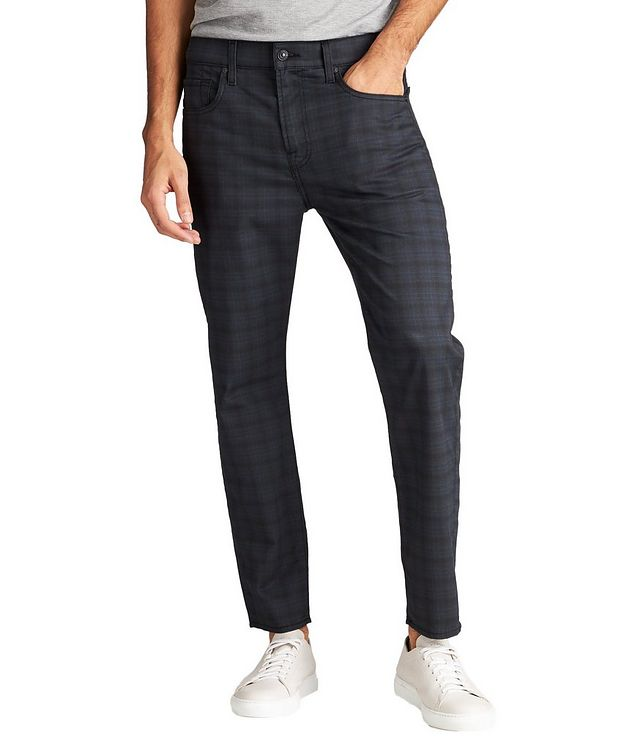 Adrien Windowpane-Checked Slim Fit Jeans picture 1