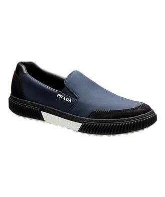 Prada Suede & Leather Slip-On Sneakers