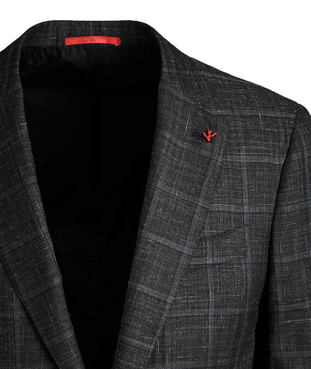 Windowpane Checked Cashmere, Silk & Linen Sports Jacket picture 2