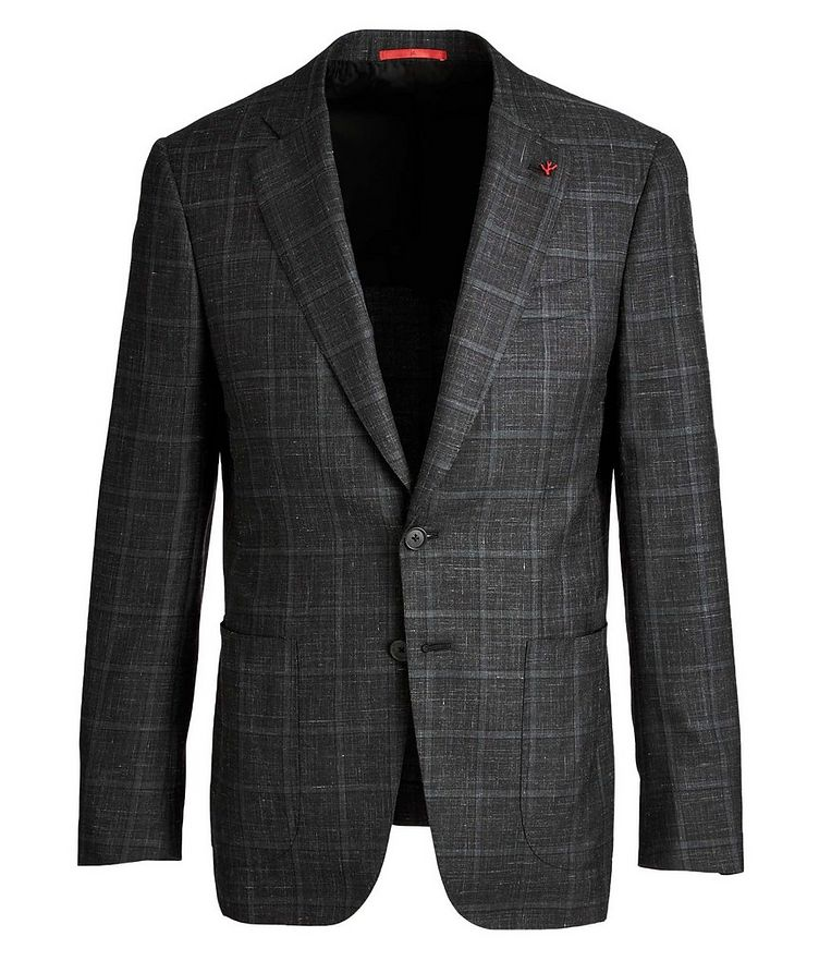 Windowpane Checked Cashmere, Silk & Linen Sports Jacket image 0
