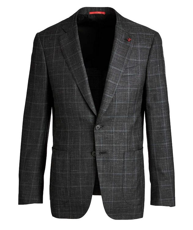 Windowpane Checked Cashmere, Silk & Linen Sports Jacket picture 1
