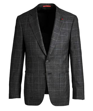 Isaia Windowpane Checked Cashmere, Silk & Linen Sports Jacket