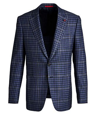 Isaia Windowpane & Gingham Checked Wool, Cashmere, Silk & Linen Sports Jacket