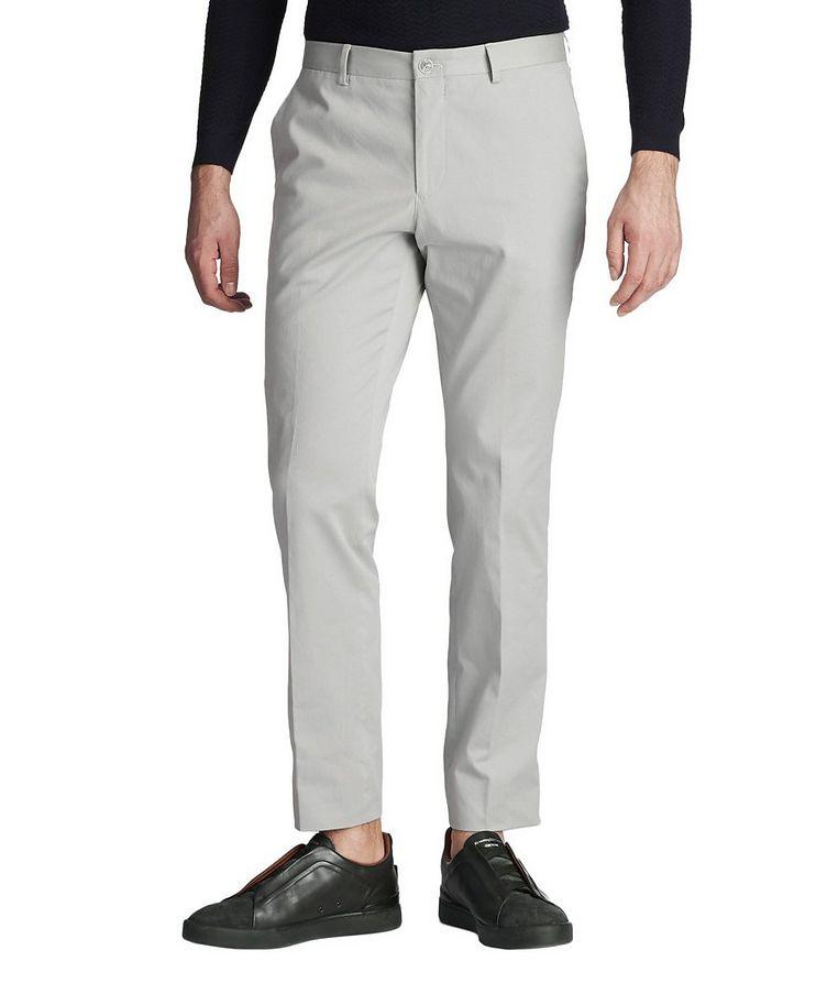 Pantalon habillé en coton extensible de coupe amincie image 0