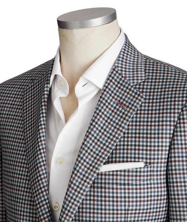 Cosmo Gingham Checked Wool-Silk Sports Jacket picture 2