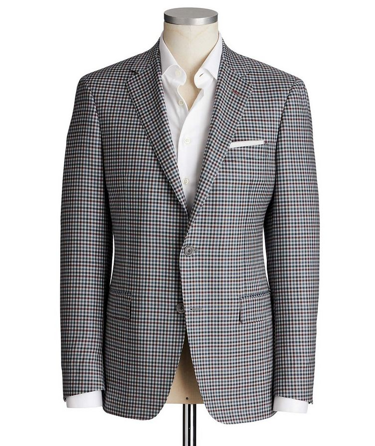 Cosmo Gingham Checked Wool-Silk Sports Jacket image 0