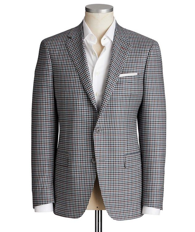 Cosmo Gingham Checked Wool-Silk Sports Jacket picture 1