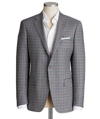 Samuelsohn Cosmo Gingham Checked Wool-Silk Sports Jacket