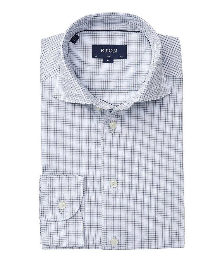 Soft Slim Fit Grid-Printed Cotton-Silk Shirt  image 0