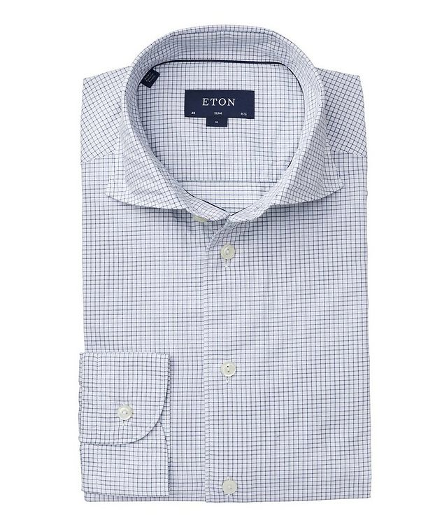 Soft Slim Fit Grid-Printed Cotton-Silk Shirt  picture 1