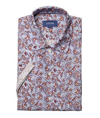 Eton Soft Short-Sleeve Paisley Linen Shirt