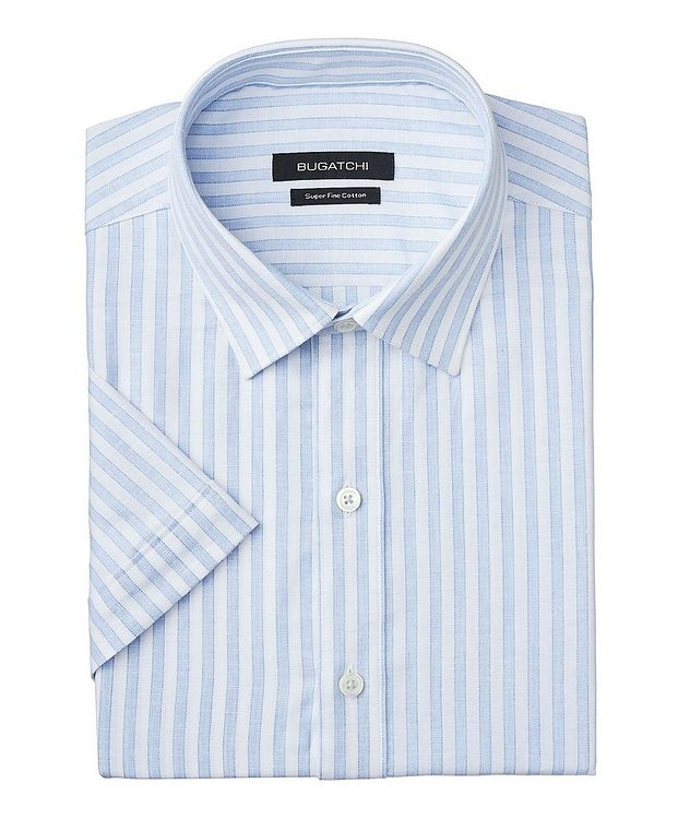 Short-Sleeve Striped Cotton-Linen Shirt picture 1