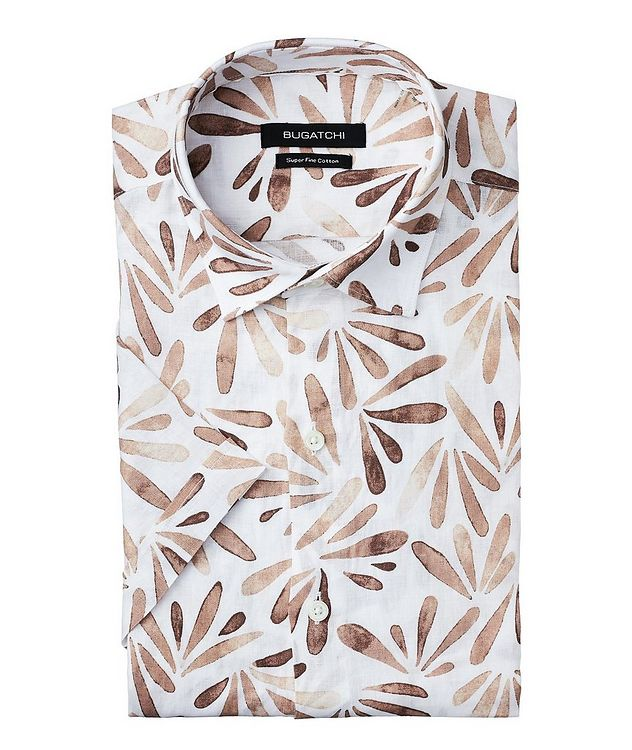 Short-Sleeve Printed Linen Shirt picture 1