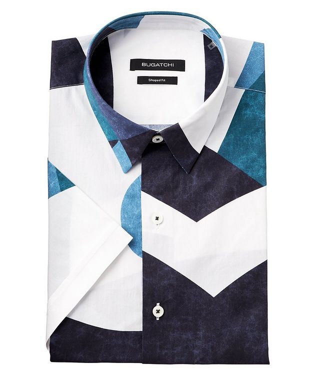 Short-Sleeve Colour Blocked Cotton Shirt picture 1