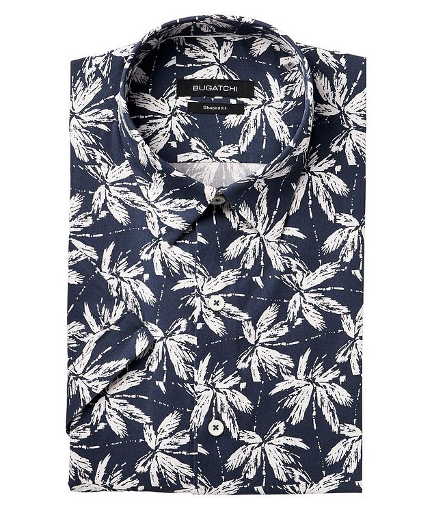 Short-Sleeve Palm Print Cotton Shirt picture 1