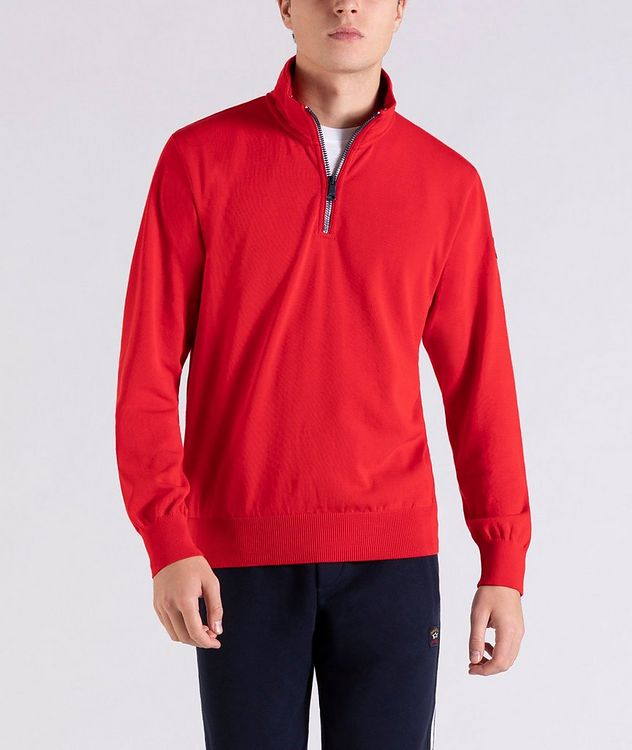 Pull en tricot de coton à demi-glissière picture 1