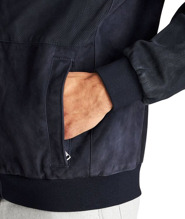 Water-Repellent Suede Bomber Jacket picture 4