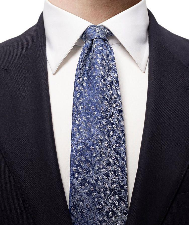 Floral Printed Silk-Linen Tie image 1