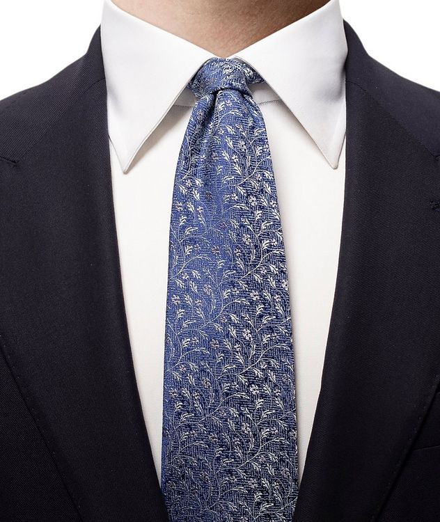 Floral Printed Silk-Linen Tie picture 2