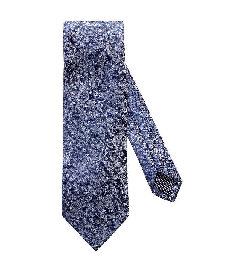 Floral Printed Silk-Linen Tie image 0